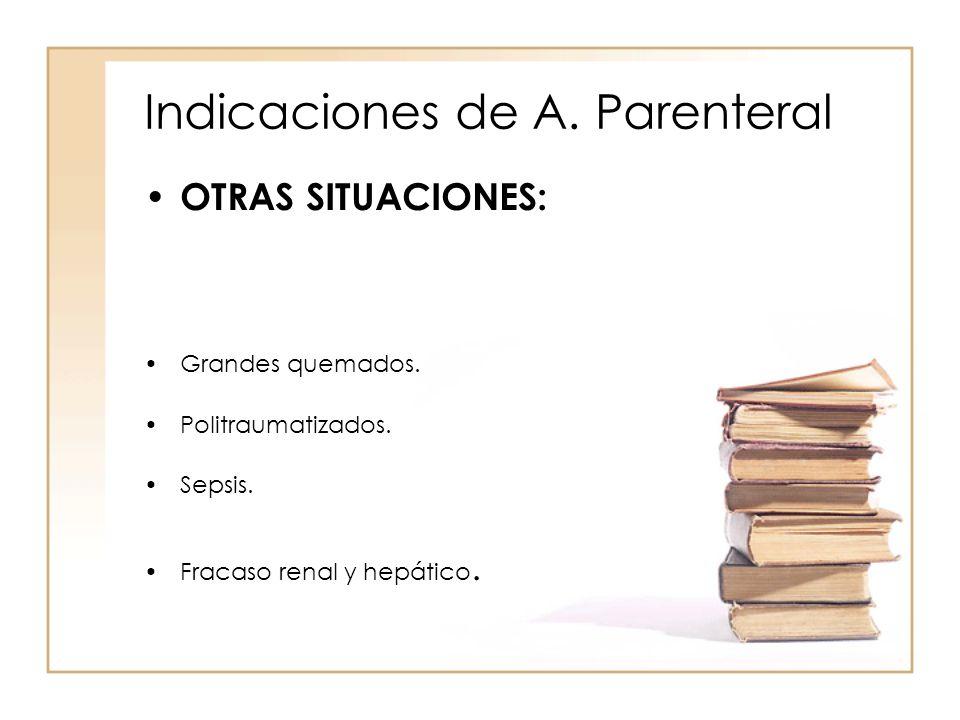Indicaciones de A. Parenteral • OTRAS SITUACIONES: •Grandes quemados. •Politraumatizados. •Sepsis. •Fracaso renal y hepático.