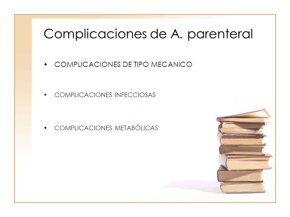 Complicaciones de A. parenteral •COMPLICACIONES DE TIPO MECANICO •COMPLICACIONES INFECCIOSAS •COMPLICACIONES METABÓLICAS