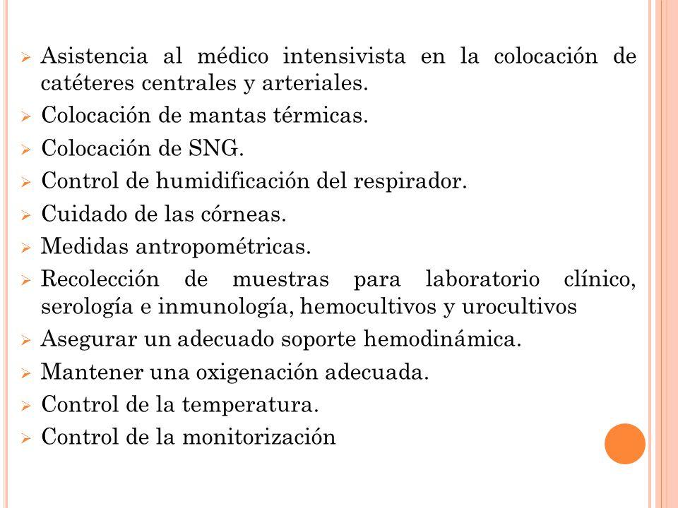  Asistencia al médico intensivista en la colocación de catéteres centrales y arteriales.  Colocación de mantas térmicas.  Colocación de SNG.  Cont