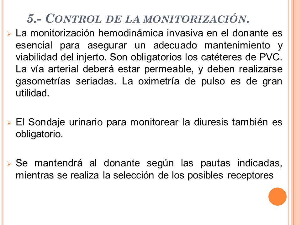 5.- C ONTROL DE LA MONITORIZACIÓN.  La monitorización hemodinámica invasiva en el donante es esencial para asegurar un adecuado mantenimiento y viabi