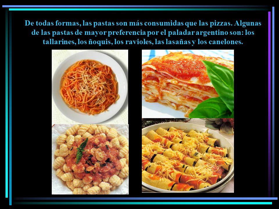 De todas formas, las pastas son más consumidas que las pizzas.