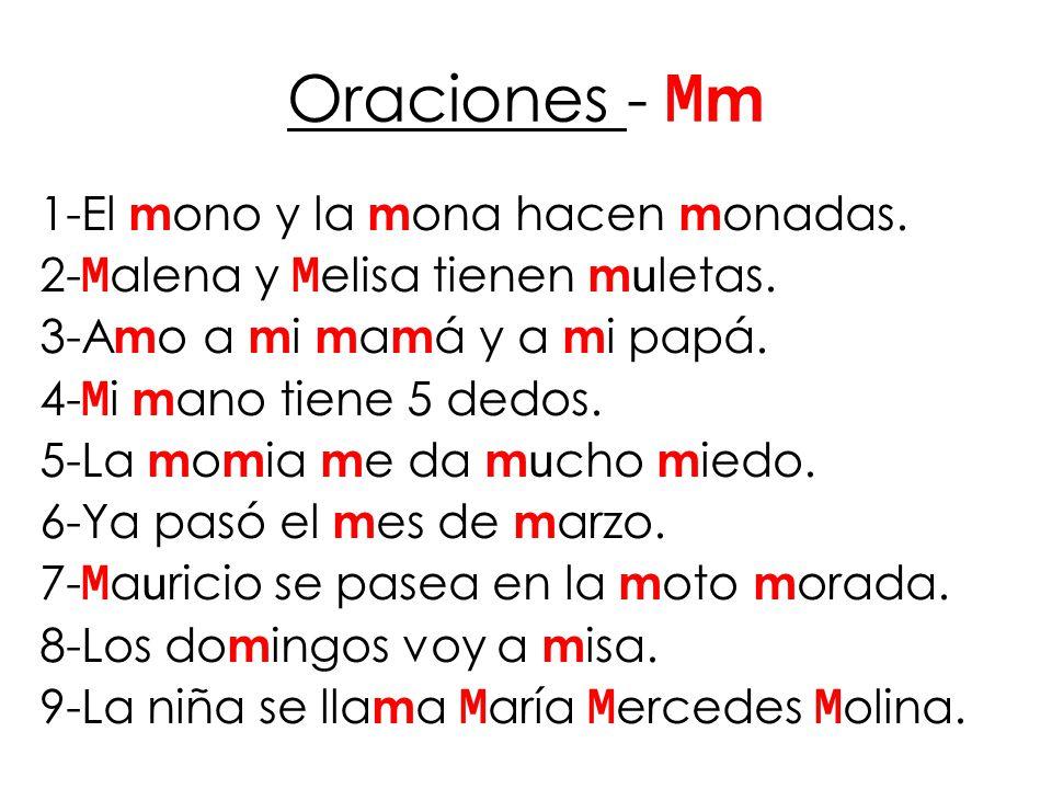 Oraciones - M m 1-El m ono y la m ona hacen m onadas.