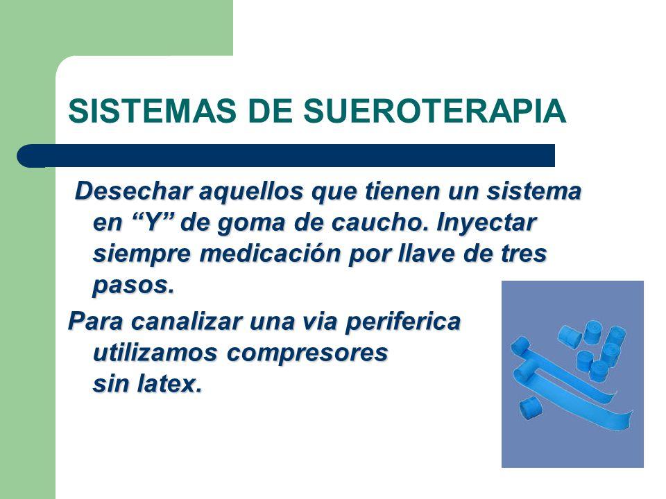 SISTEMAS DE SUEROTERAPIA Desechar aquellos que tienen un sistema en Y de goma de caucho.