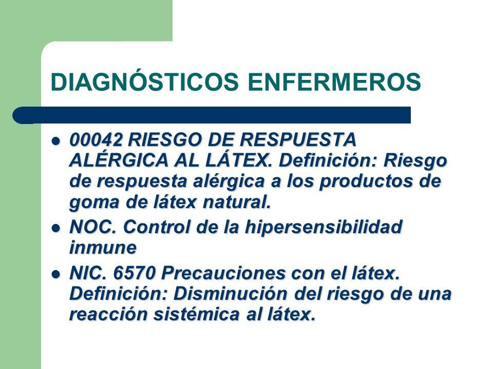 DIAGNÓSTICOS ENFERMEROS  00042 RIESGO DE RESPUESTA ALÉRGICA AL LÁTEX.
