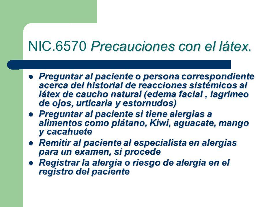 Precauciones con el látex.NIC.6570 Precauciones con el látex.