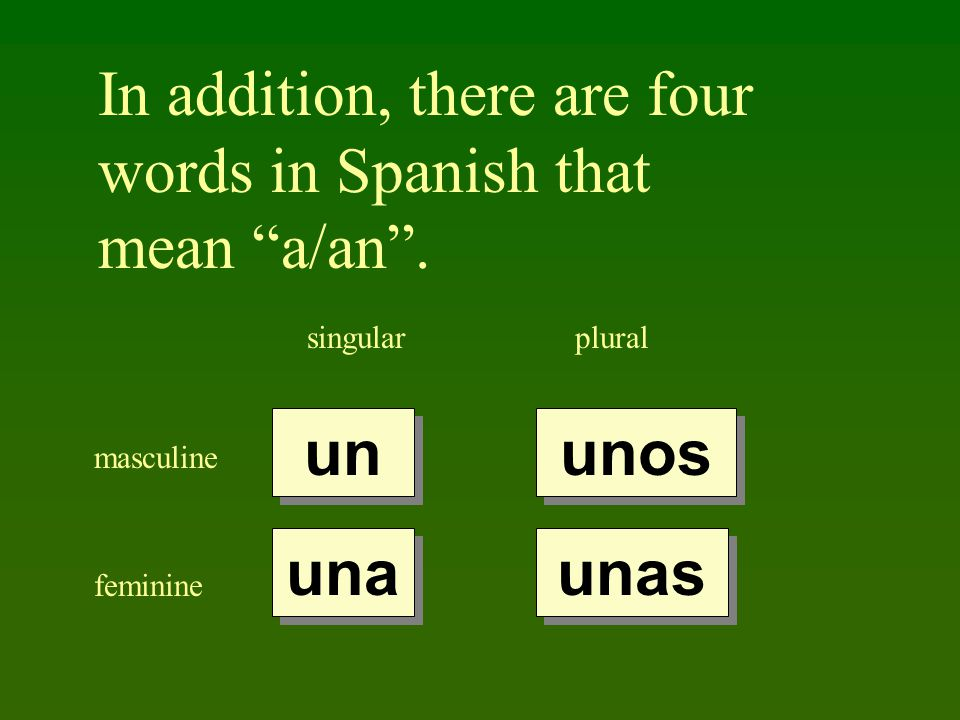 In addition, there are four words in Spanish that mean a/an .