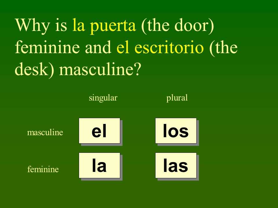 Why is la puerta (the door) feminine and el escritorio (the desk) masculine.