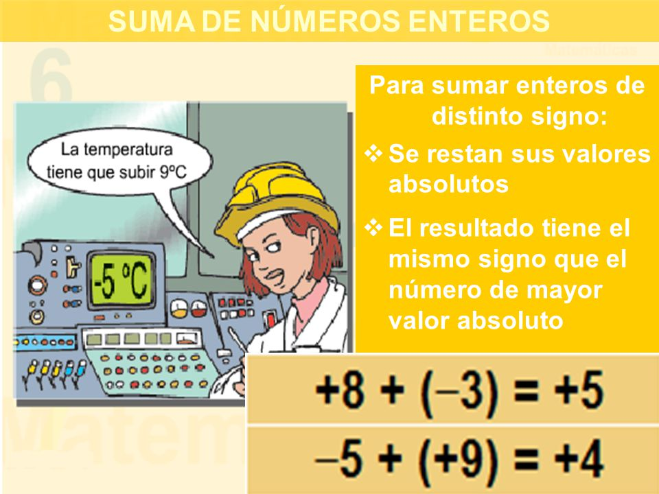 SUMA DE NÚMEROS ENTEROS Para sumar enteros de distinto signo:  Se restan sus valores absolutos  El resultado tiene el mismo signo que el número de mayor valor absoluto