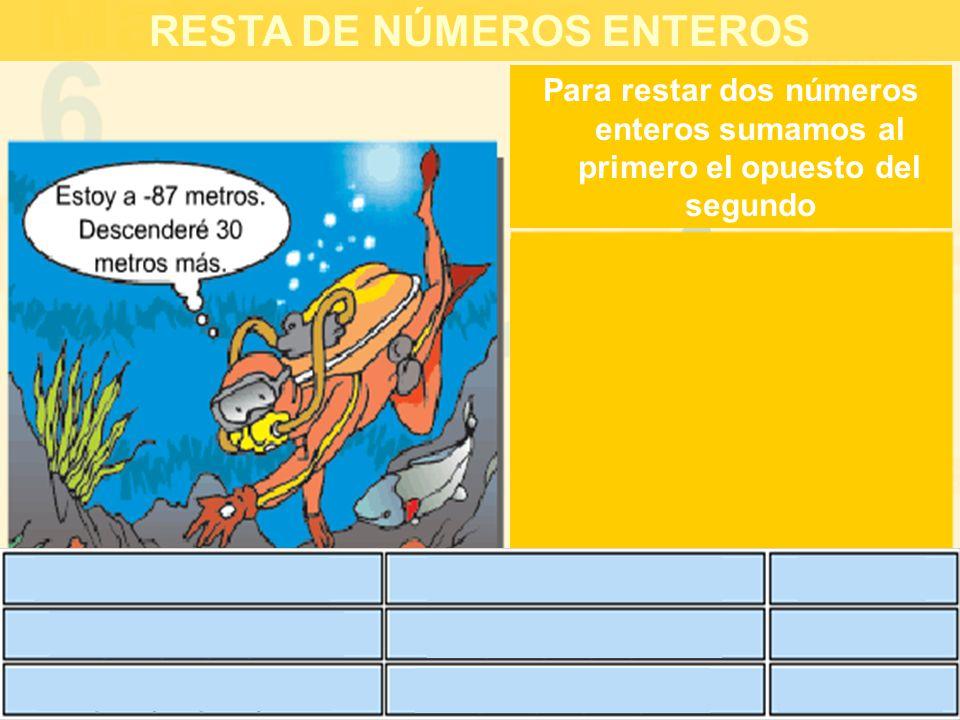 RESTA DE NÚMEROS ENTEROS Para restar dos números enteros sumamos al primero el opuesto del segundo