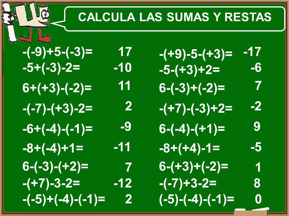 -5+(-3)-2= 6+(+3)-(-2)= -(-7)-(+3)-2= -6+(-4)-(-1)= -8+(-4)+1= 6-(-3)-(+2)= -(+7)-3-2= -(-5)+(-4)-(-1)= -(-9)+5-(-3)= -5-(+3)+2= 6-(-3)+(-2)= -(+7)-(-3)+2= 6-(-4)-(+1)= -8+(+4)-1= 6-(+3)+(-2)= -(-7)+3-2= (-5)-(-4)-(-1)= -(+9)-5-(+3)= 17 -10 11 2 -9 -11 7 -12 2 -17 -6 7 -2 9 -5 1 8 0 CALCULA LAS SUMAS Y RESTAS
