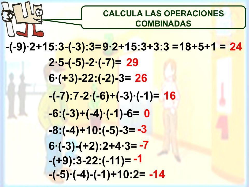 2·5-(-5)-2·(-7)= 6·(+3)-22:(-2)-3= -(-7):7-2·(-6)+(-3)·(-1)= -6:(-3)+(-4)·(-1)-6= -8:(-4)+10:(-5)-3= 6·(-3)-(+2):2+4·3= -(+9):3-22:(-11)= -(-5)·(-4)-(-1)+10:2= -(-9)·2+15:3-(-3):3= 29 26 16 0 -3 -7 -14 9·2+15:3+3:3 = CALCULA LAS OPERACIONES COMBINADAS 18+5+1 =24