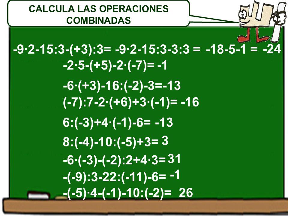 -2·5-(+5)-2·(-7)= -6·(+3)-16:(-2)-3= (-7):7-2·(+6)+3·(-1)= 6:(-3)+4·(-1)-6= 8:(-4)-10:(-5)+3= -6·(-3)-(-2):2+4·3= -(-9):3-22:(-11)-6= -(-5)·4-(-1)-10:(-2)= -9·2-15:3-(+3):3= -13 -16 -13 3 31 26 -9·2-15:3-3:3 = CALCULA LAS OPERACIONES COMBINADAS -18-5-1 = -24