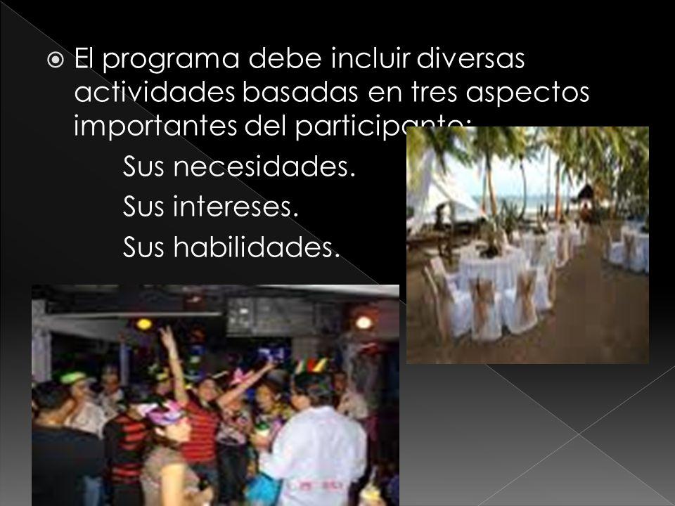  El programa debe incluir diversas actividades basadas en tres aspectos importantes del participante: Sus necesidades.