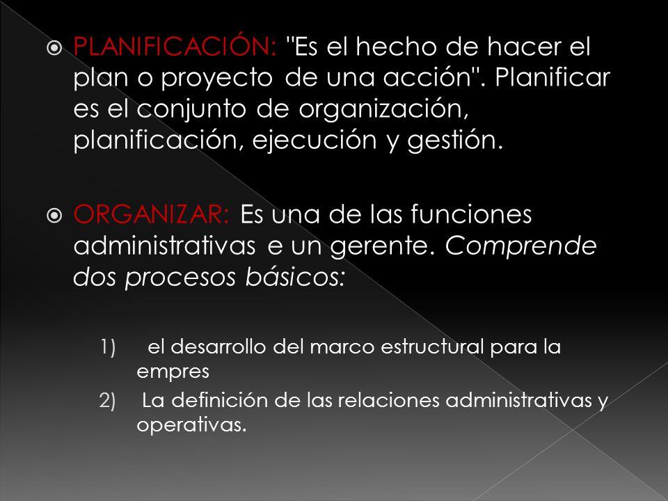  PLANIFICACIÓN: Es el hecho de hacer el plan o proyecto de una acción .