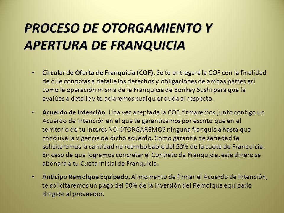 PROCESO DE OTORGAMIENTO Y APERTURA DE FRANQUICIA Circular de Oferta de Franquicia (COF).