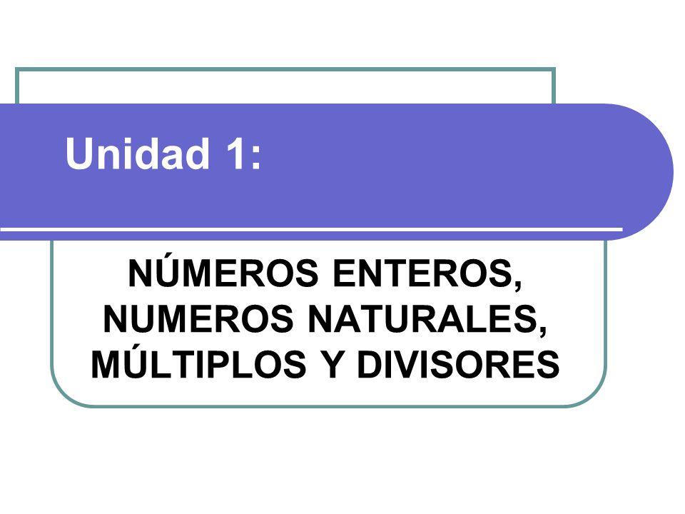NÚMEROS ENTEROS, NUMEROS NATURALES, MÚLTIPLOS Y DIVISORES Unidad 1: