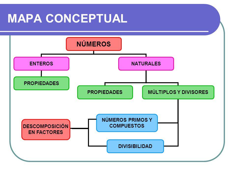 MAPA CONCEPTUAL NÚMEROS ENTEROSNATURALES PROPIEDADES MÚLTIPLOS Y DIVISORES NÚMEROS PRIMOS Y COMPUESTOS DIVISIBILIDAD DESCOMPOSICIÓN EN FACTORES