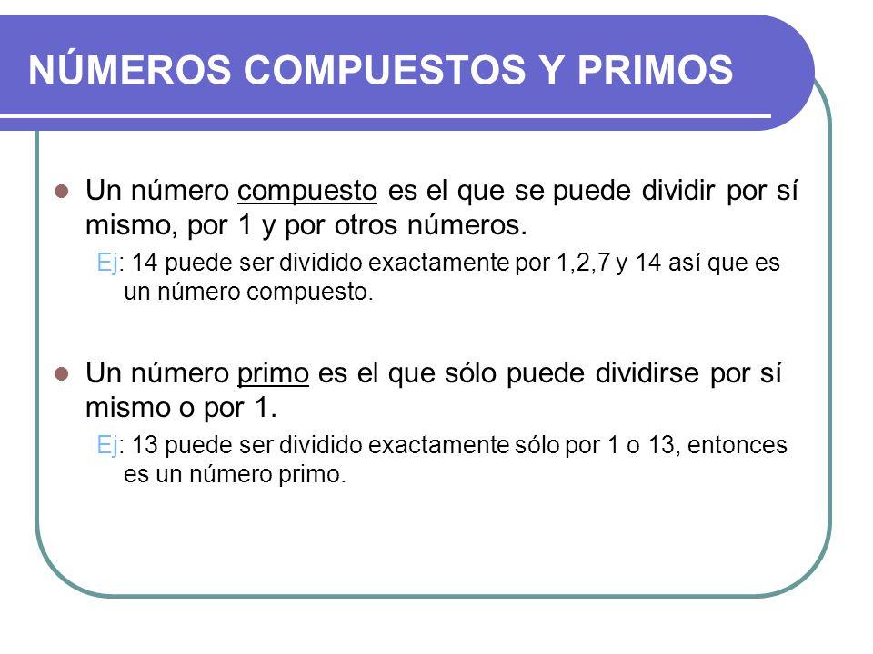 NÚMEROS COMPUESTOS Y PRIMOS Un número compuesto es el que se puede dividir por sí mismo, por 1 y por otros números.