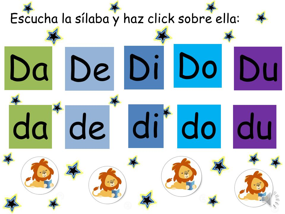 Escucha la sílaba y haz click sobre ella: De Di Du da Da Do de di du do
