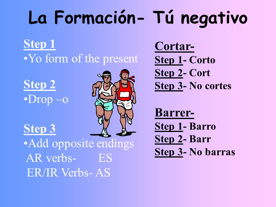 La Formación- Tú negativo Step 1 Yo form of the present Step 2 Drop –o Step 3 Add opposite endings AR verbs- ES ER/IR Verbs- AS Cortar- Step 1- Corto Step 2- Cort Step 3- No cortes Barrer- Step 1- Barro Step 2- Barr Step 3- No barras