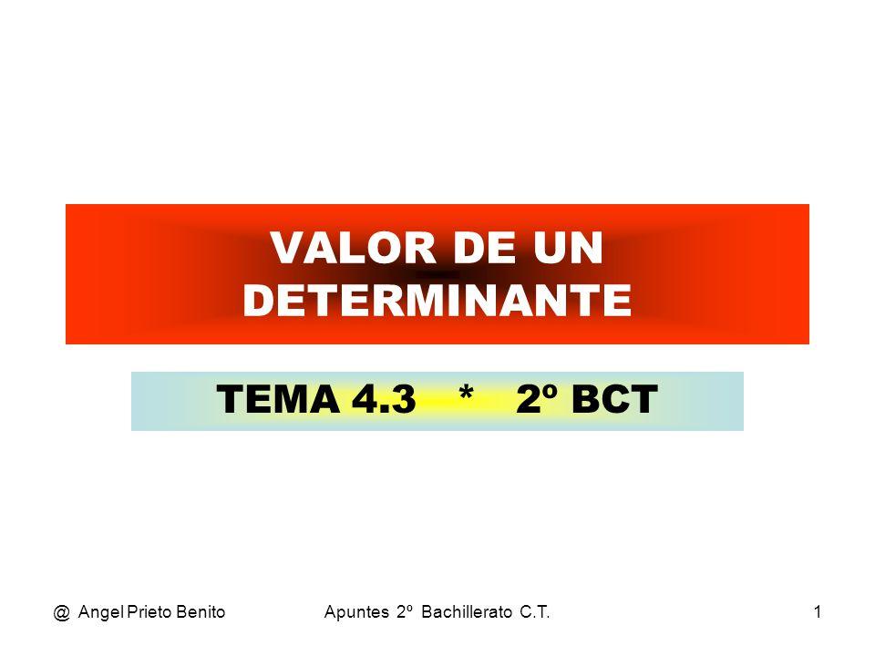 @ Angel Prieto BenitoApuntes 2º Bachillerato C.T.2 REGLA DE SARRUS •R•REGLA DE SARRUS •E•El valor de un determinante es la suma de los productos de todos los elementos de cada diagonal principal (de izquierda a derecha), menos la suma de los productos de todos los elementos de cada diagonal secundaria (de derecha a izquierda).