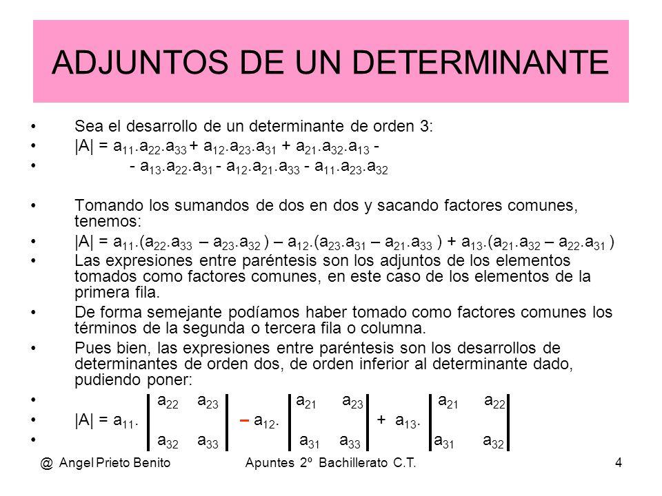 @ Angel Prieto BenitoApuntes 2º Bachillerato C.T.5 A = a 11 a 12 a 21 a 13 a 22 a 23 a 31 a 32 a 33 Guía gráfica de adjuntos A = + – Adjunto de un elemento Signo de los adjuntos En azul el adjunto de a 21 Será + si la suma de índices es par + + + + + + +– –– – – – –