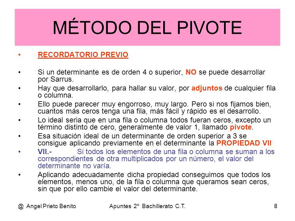 @ Angel Prieto BenitoApuntes 2º Bachillerato C.T.9 EJEMPLOS •1•1.- Sea el determinante de orden 4: •D•Desarrollamos por adjuntos de la primera fila.