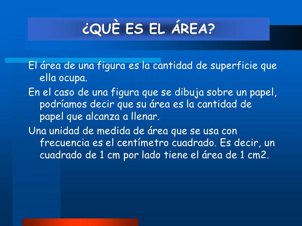 El área de una figura es la cantidad de superficie que ella ocupa.