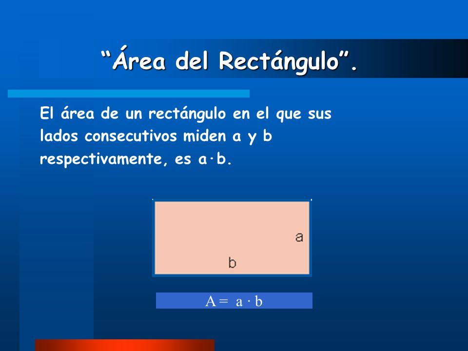 """""""Área del Rectángulo"""". """"Área del Rectángulo"""". El área de un rectángulo en el que sus lados consecutivos miden a y b respectivamente, es a·b. A = a · b"""