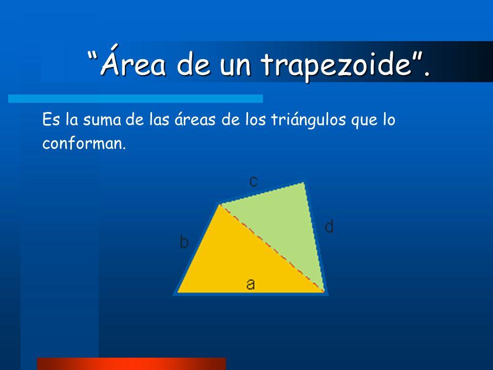 """""""Área de un trapezoide"""". """"Área de un trapezoide"""". Es la suma de las áreas de los triángulos que lo conforman."""