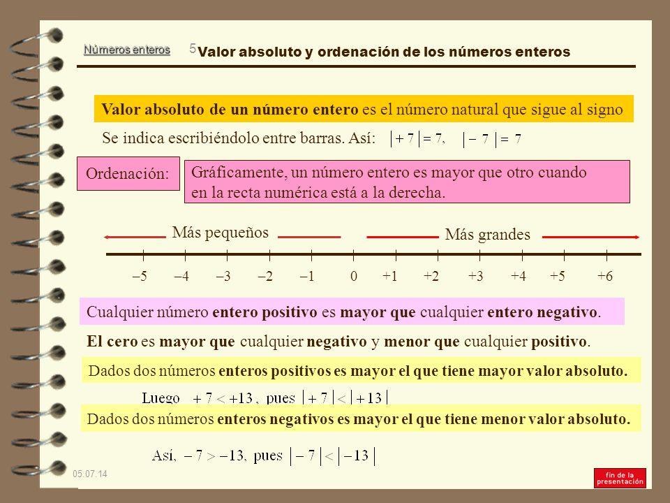 Números enteros 05.07.14 4 Se llama valor absoluto de un número entero al número natural que sigue al signo.