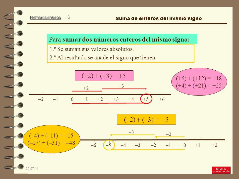 Números enteros 05.07.14 6 0+1+3+2+4+6+5–2–1 (+2) + (+3) = +5 Para sumar dos números enteros del mismo signo: 1.º Se suman sus valores absolutos.