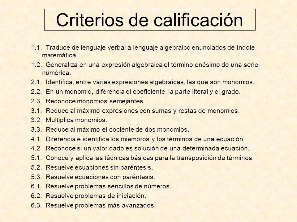 Criterios de calificación 1.1.