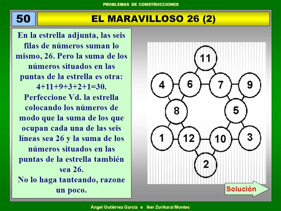 Ángel Gutiérrez García e Iker Zurikarai Montes PROBLEMAS DE CONSTRUCCIONES EL MARAVILLOSO 26 (2) 50 En la estrella adjunta, las seis filas de números
