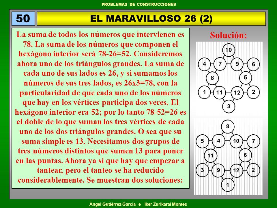 Ángel Gutiérrez García e Iker Zurikarai Montes PROBLEMAS DE CONSTRUCCIONES EL MARAVILLOSO 26 (2) 50 La suma de todos los números que intervienen es 78