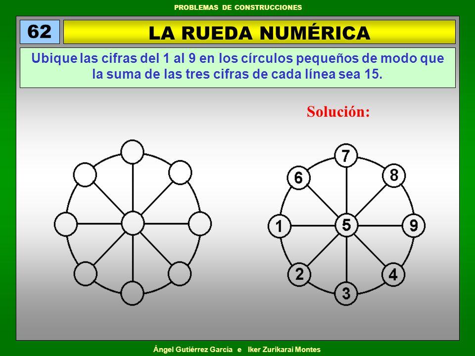 Ángel Gutiérrez García e Iker Zurikarai Montes PROBLEMAS DE CONSTRUCCIONES LA RUEDA NUMÉRICA 62 Ubique las cifras del 1 al 9 en los círculos pequeños