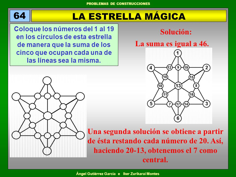 Ángel Gutiérrez García e Iker Zurikarai Montes PROBLEMAS DE CONSTRUCCIONES LA ESTRELLA MÁGICA 64 Coloque los números del 1 al 19 en los círculos de es
