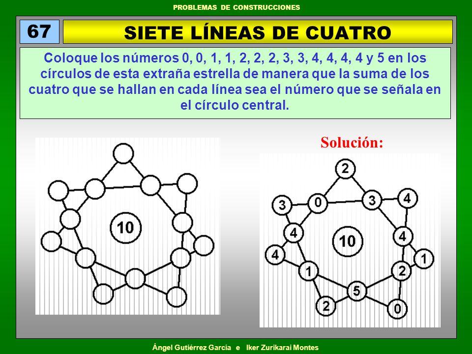 Ángel Gutiérrez García e Iker Zurikarai Montes PROBLEMAS DE CONSTRUCCIONES SIETE LÍNEAS DE CUATRO 67 Coloque los números 0, 0, 1, 1, 2, 2, 2, 3, 3, 4,