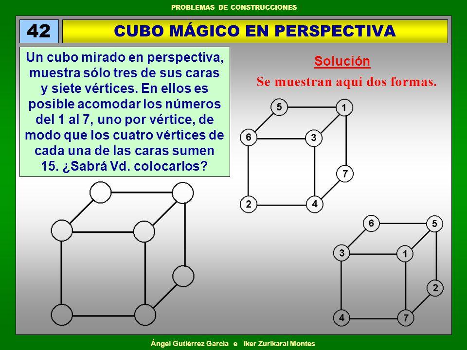 Ángel Gutiérrez García e Iker Zurikarai Montes PROBLEMAS DE CONSTRUCCIONES Se muestran aquí dos formas. CUBO MÁGICO EN PERSPECTIVA 42 Un cubo mirado e