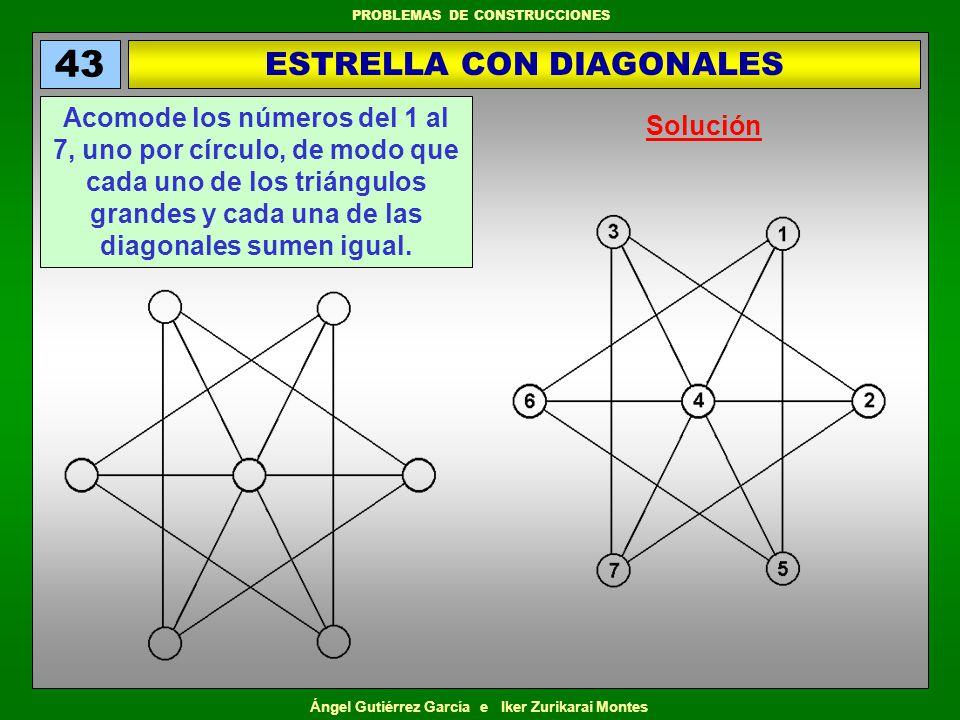 Ángel Gutiérrez García e Iker Zurikarai Montes PROBLEMAS DE CONSTRUCCIONES TRIÁNGULO ANTIMÁGICO 44 Acomode los números del 1 al 6, uno por círculo, de modo que cada línea de dos o tres círculos, los tres círculos de las esquinas, y los tres círculos interiores, sumen distinto, y que las ocho sumas que entran en juego sean valores consecutivos.