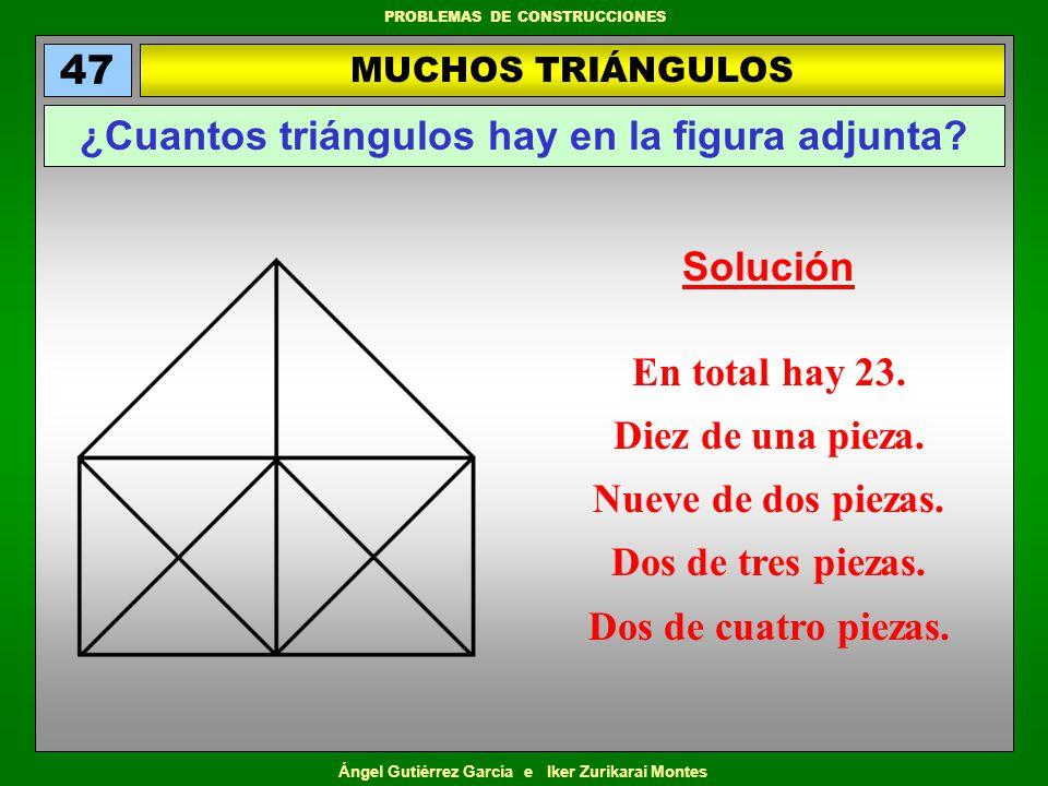 Ángel Gutiérrez García e Iker Zurikarai Montes PROBLEMAS DE CONSTRUCCIONES UN TRIÁNGULO Y TRES CUADRADOS 57 Ponga las cifras del 1 al 9 en los círculos de manera que los vértices de los cuadrados y del triángulo sumen las cantidades que en ellos se indican.