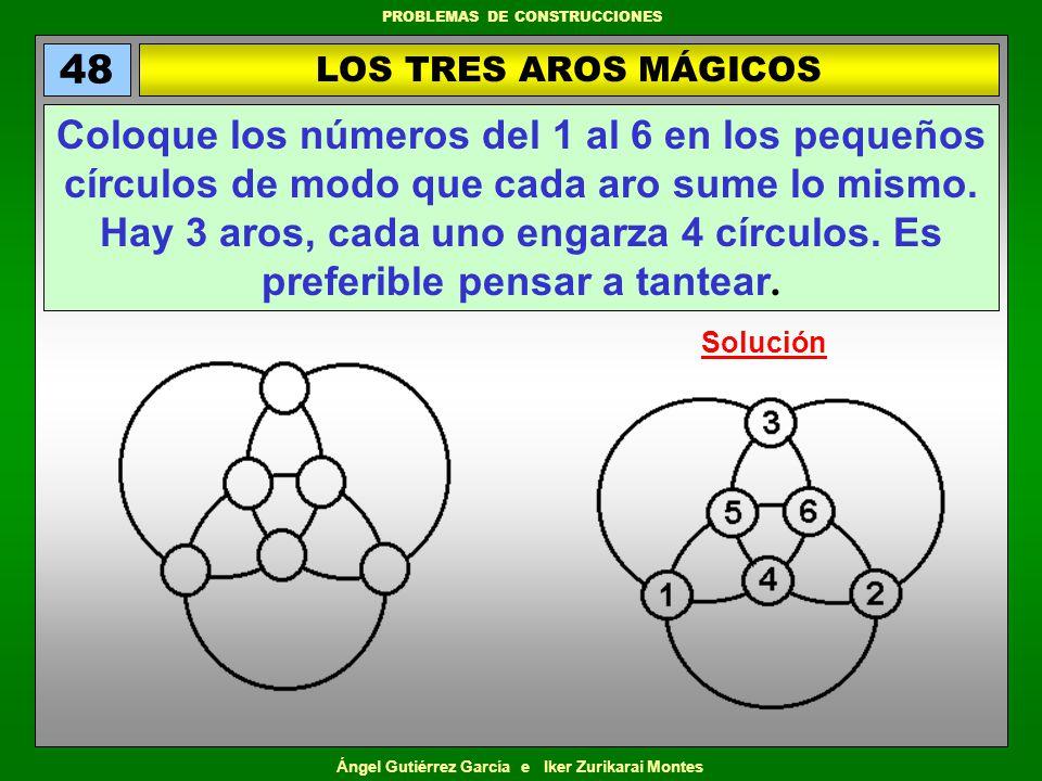 Ángel Gutiérrez García e Iker Zurikarai Montes PROBLEMAS DE CONSTRUCCIONES EL MARAVILLOSO 26 (1) 49 Coloque los números del 1 al 12 en los círculos de esta estrella de manera que la suma de los que ocupan cada una de las seis líneas sea igual a 26.