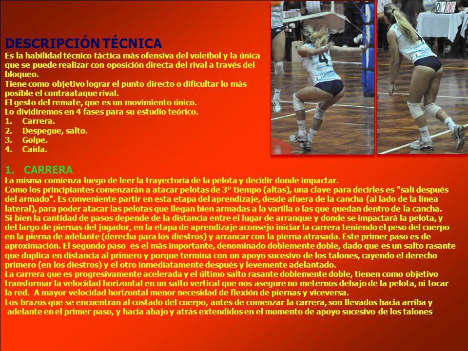 DESCRIPCIÓN TÉCNICA Es la habilidad técnico táctica más ofensiva del voleibol y la única que se puede realizar con oposición directa del rival a travé
