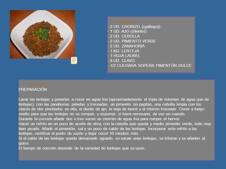 Ingredientes - 2 UD. CHORIZO ((gallego)) - 1 UD. AJO ((diente)) - 2 UD.