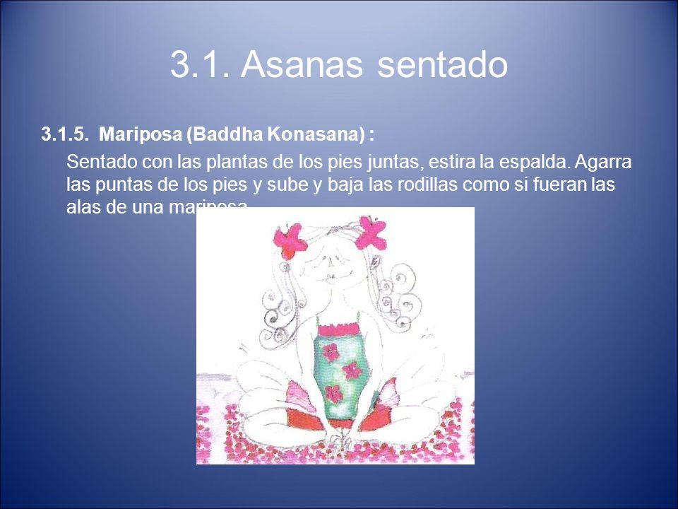 3.1. Asanas sentado 3.1.5. Mariposa (Baddha Konasana) : Sentado con las plantas de los pies juntas, estira la espalda. Agarra las puntas de los pies y