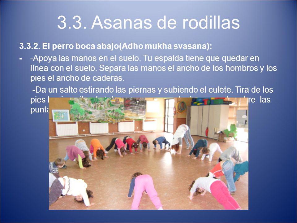 3.3. Asanas de rodillas 3.3.2. El perro boca abajo(Adho mukha svasana): --Apoya las manos en el suelo. Tu espalda tiene que quedar en línea con el sue