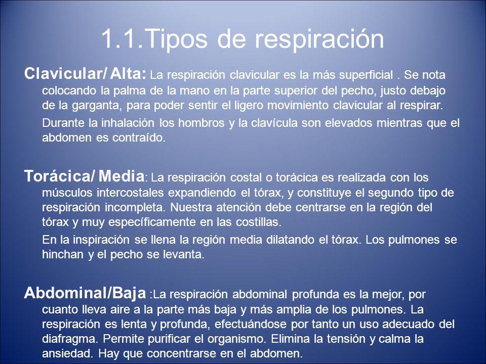 1.1.Tipos de respiración Clavicular/ Alta: La respiración clavicular es la más superficial. Se nota colocando la palma de la mano en la parte superior