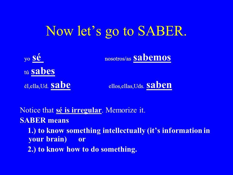 Now let's go to SABER. yo sé nosotros/as sabemos tú sabes él,ella,Ud.
