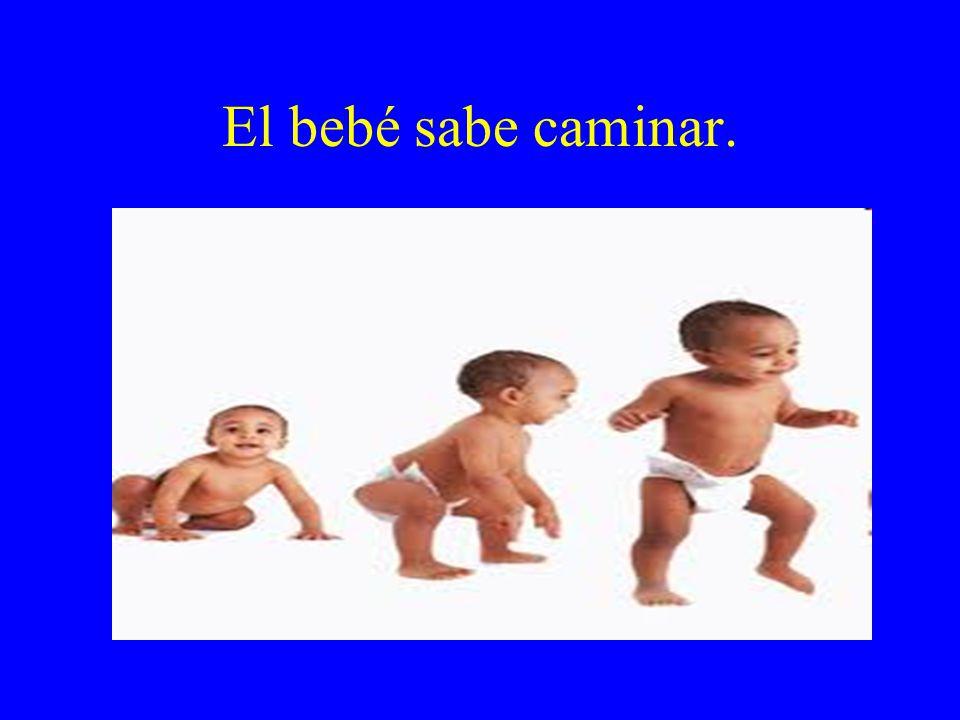 El bebé sabe caminar.