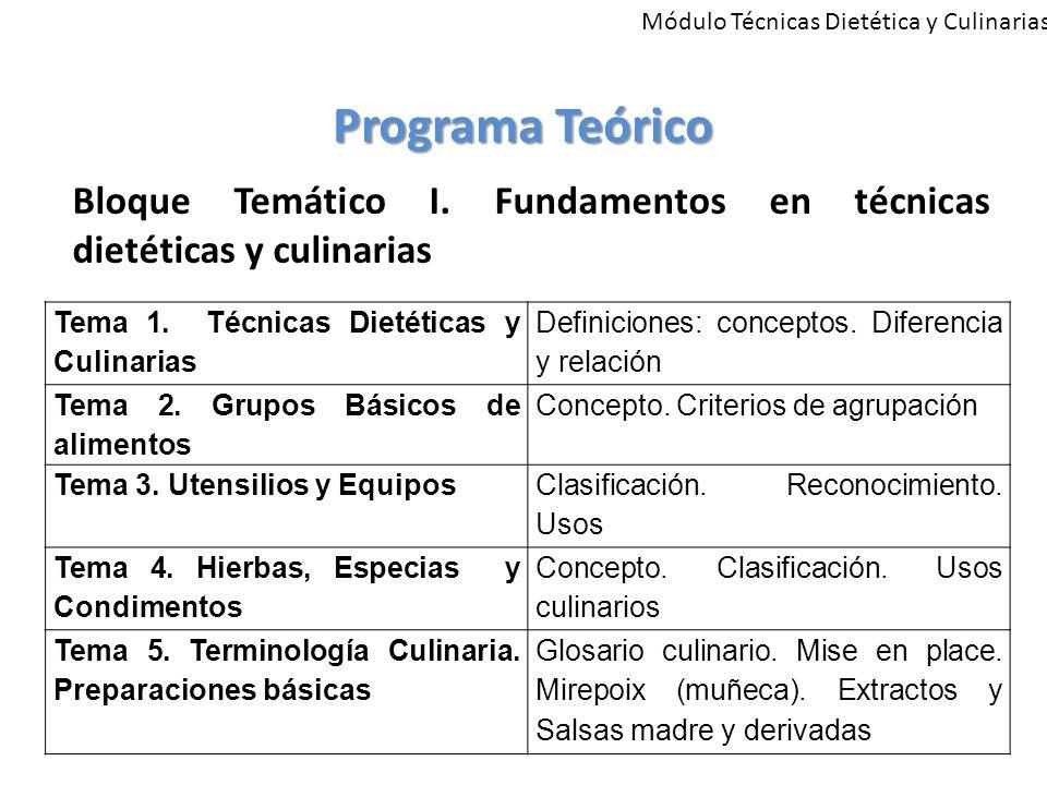 Módulo Técnicas Dietética y Culinarias Programa Teórico Tema 1.